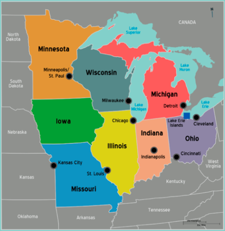 Map of the Midwest (USA)